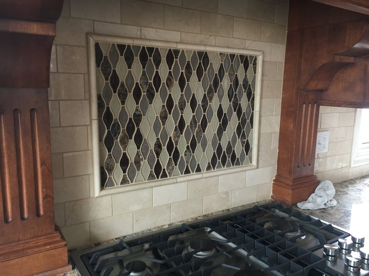 Tile back splash in KC metro home.